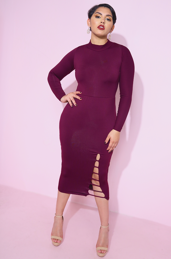 Burgundy Turtleneck Bodycon Midi Dress plus sizes