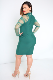 Green  Sheer Sleeves Bandage Mini Dress Plus Sizes