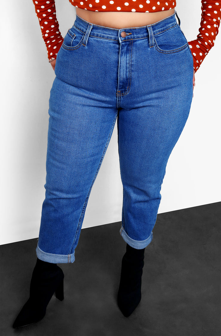Blue Roll Cuff Plus Size Jeans