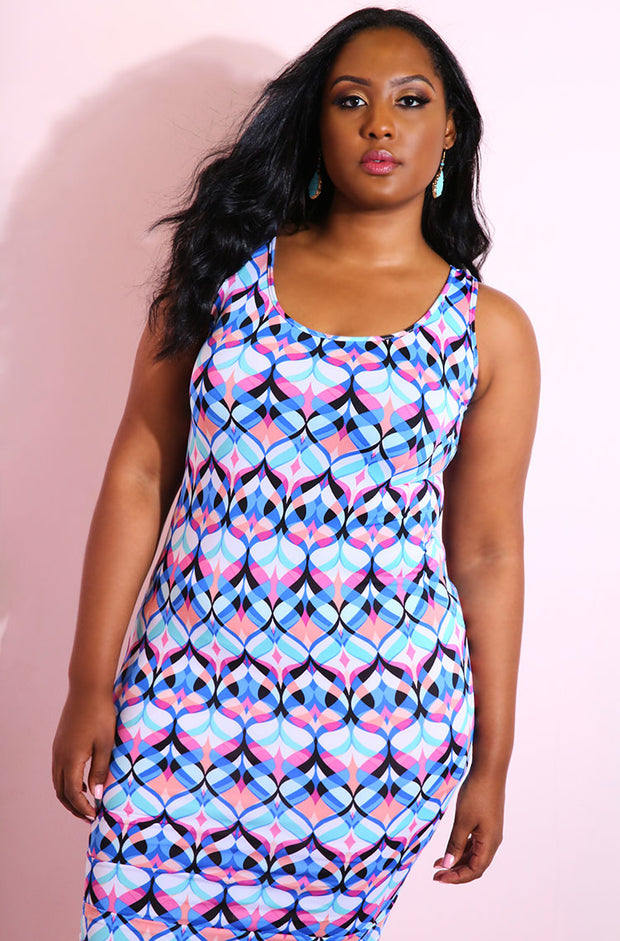 Blue Printed Bodycon Midi Dress plus sizes