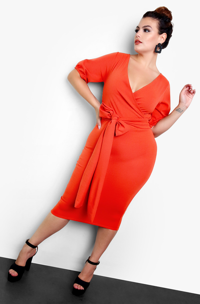 Rust Tie Front Midi Dress Plus Sizes