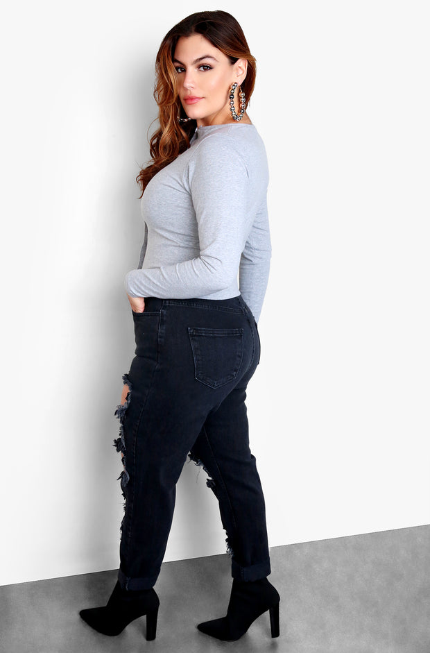Black High Waisted Distressed Jeans - Plus Sizes