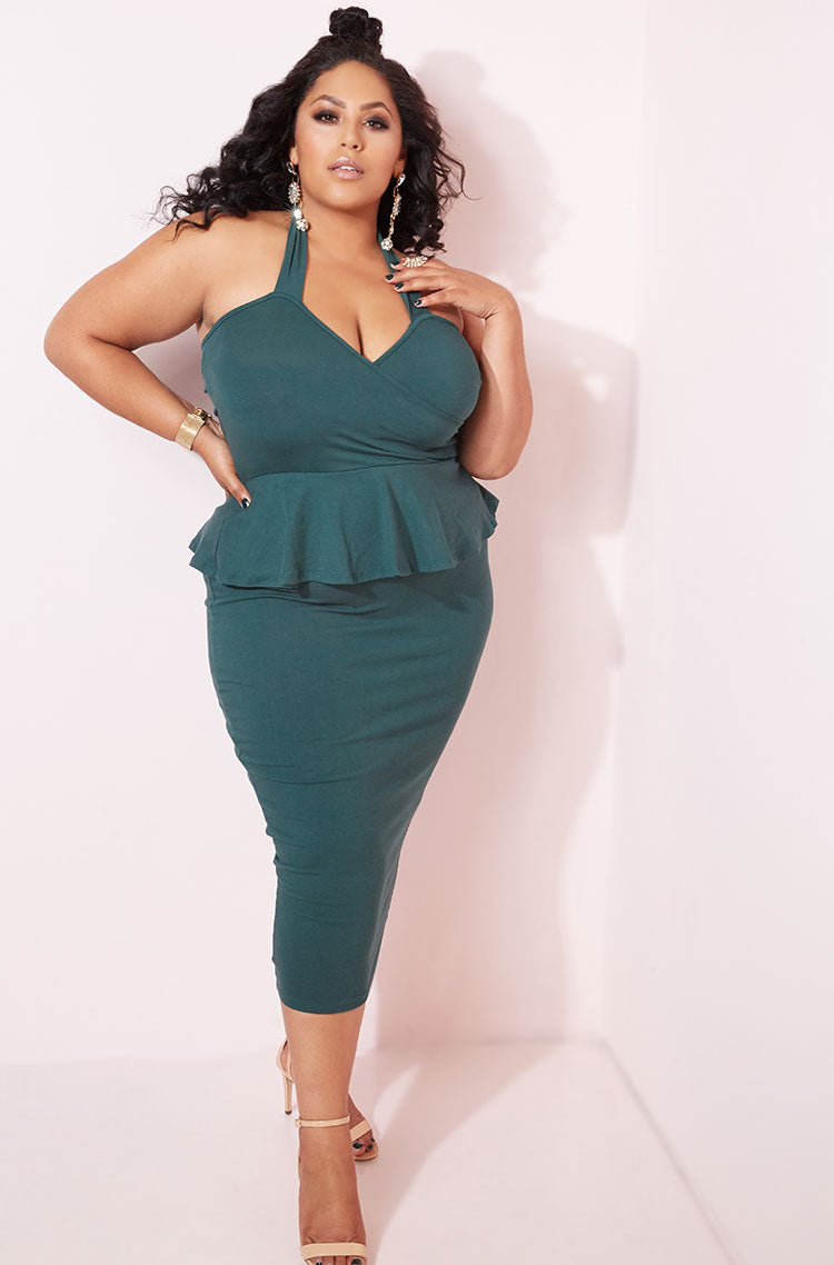 Hunter Green Sweetheart Bodycon Midi Dress plus sizes