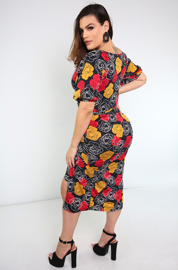 Black Floral Print Dress Plus Sizes