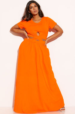 Orange Cross Over Bodycon Maxi Dress With Pockets plus sizes