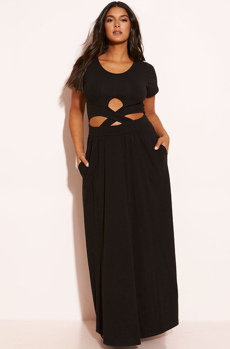 Black Cross Over Bodycon Maxi Dress With Pockets plus sizes