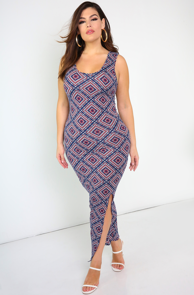 Blue Tank Maxi Dress With Side Slit Plus Sizes
