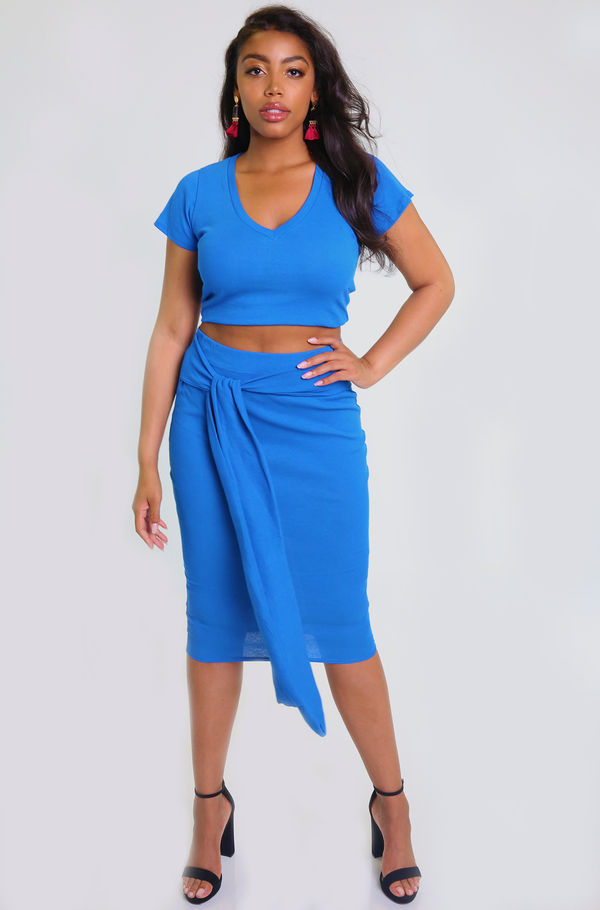 Royal Blue V-Neck Crop Top Plus Sizes