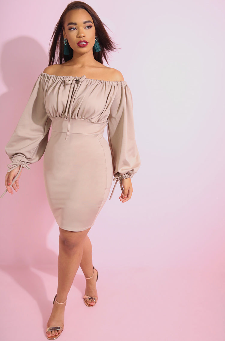 Nude Oversized Sleeves Bodycon Mini Dress plus sizes