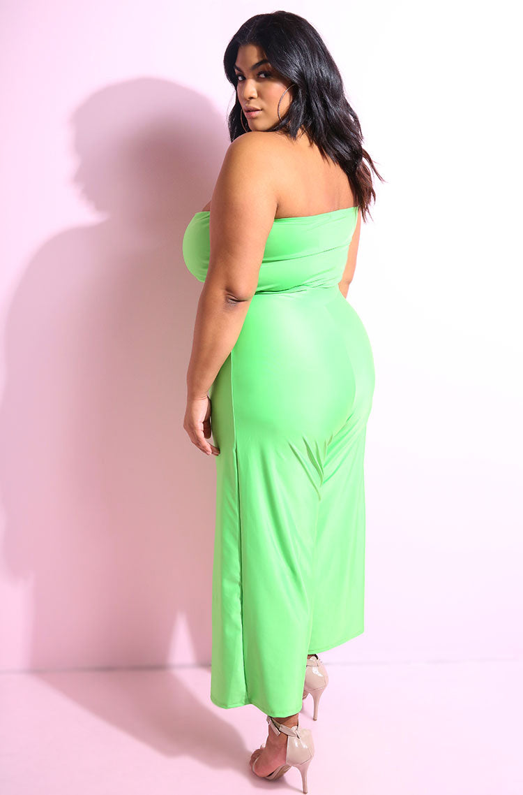 Neon green front tie wide leg jumpsuit plus sizes