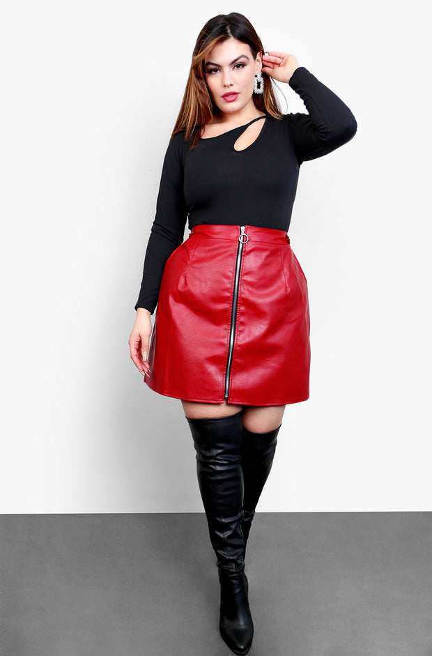 Burgundy Zip Up Faux Leather Mini Skirt Plus Sizes