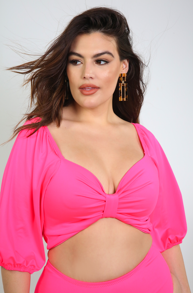 Hot Pink Puff Sleeve Swimsuit Top Plus Size