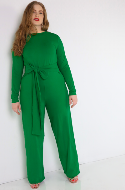Green  Belted Wide Leg Jumpsuit Plus Sizes