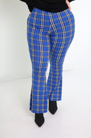 High Waist Bell Bottom Plaid Leggings Plus Sizes
