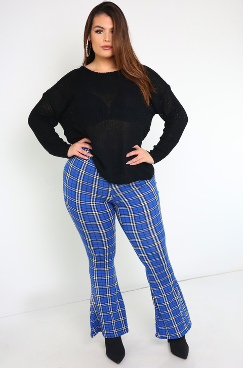 Black Open Back Knit Sweatshirt Plus Sizes