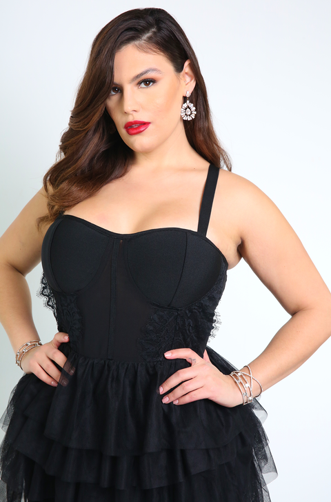 Black Tulle Maxi Dress Plus Sizes
