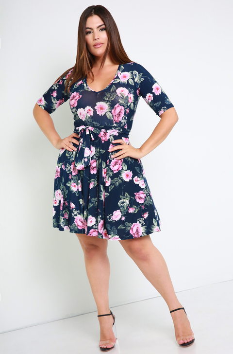 Navy Blue Floral Skater Mini Dress With Pockets Plus Sizes