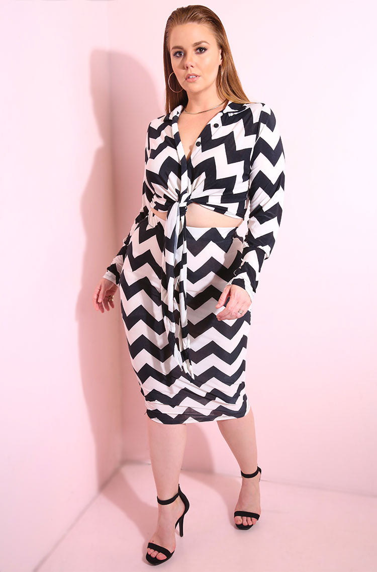 Black Chevron Print Bodycon Midi Skirt plus sizes