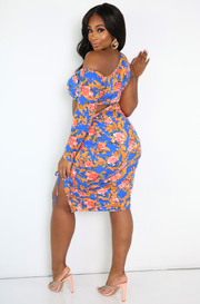 Blue Ruched Drawstring Mini Dress Plus Sizes