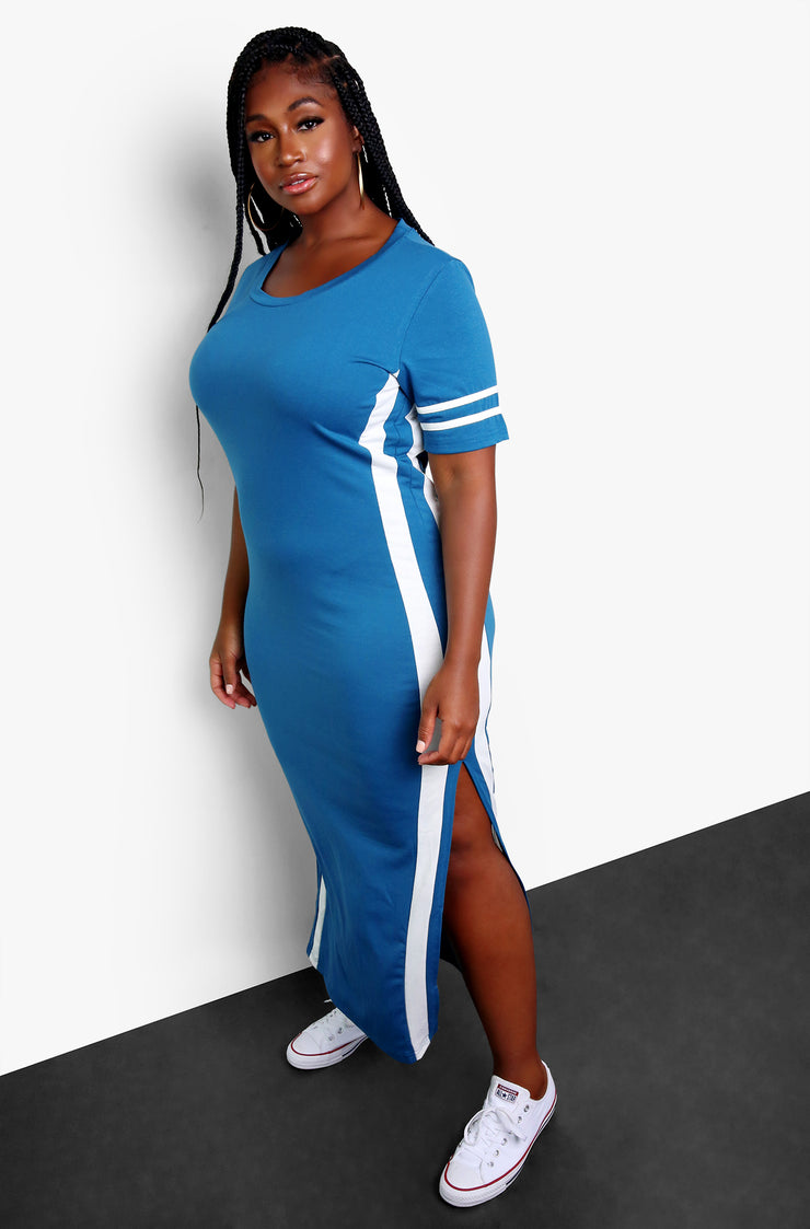Dark Blue Striped Bodycon Maxi Dress with Slits Plus Sizes