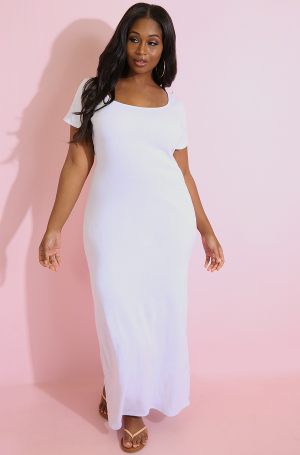 White Scoop Neck Maxi Dress plus sizes