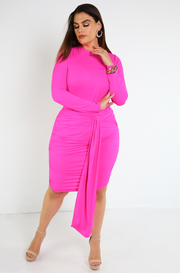 Fuchsia Ruched Mini Dress  Plus Sizes