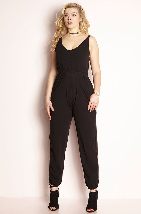 Black Jogger Style Jumpsuit plus sizes