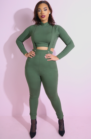 Olive Turtleneck Crop Top plus sizes