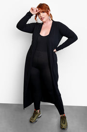 Black Maxi Length Cardigan Plus Sizes