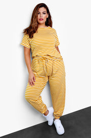Mustard Stripe Crew Neck T-Shirt Plus Sizes