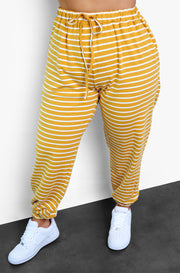 Mustard Stripe Joggers Plus Sizes