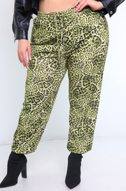 Green Leopard Joggers Plus Sizes