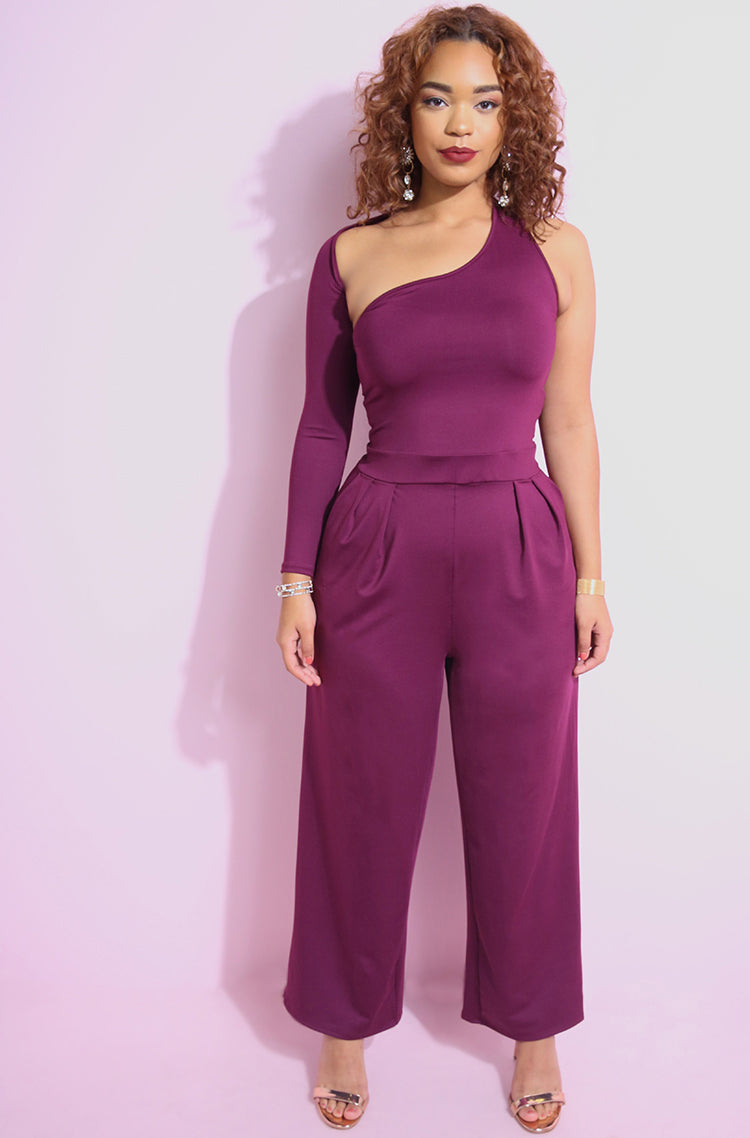 Burgundy One Shoulder Jumpsuit plus sizes