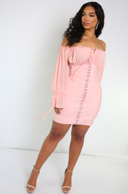 Pink Hook And Eye Over The Shoulder Bandage Mini Dress Plus Sizes