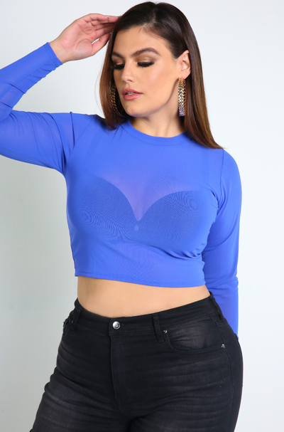 Royal Blue Sheer Crop Top Plus Sizes