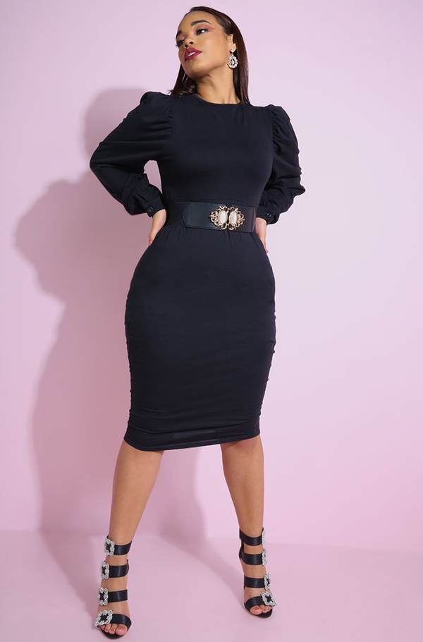 Black Puff Sleeves Bodycon Midi Dress plus sizes