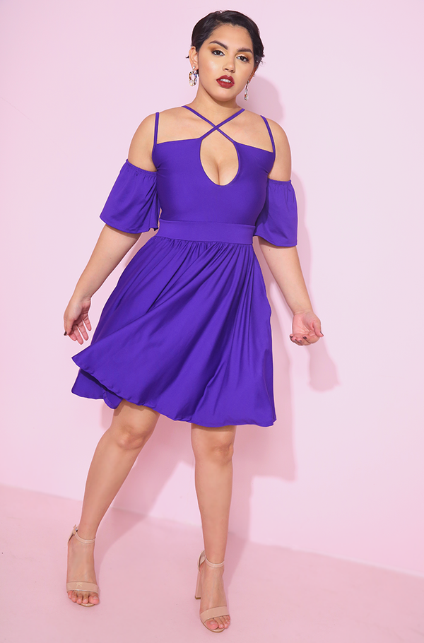Purple Caged Skater Mini Dress plus sizes