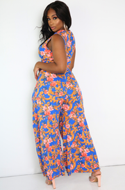 Blue Knotted Sleeveless Jumpsuit Plus Sizes