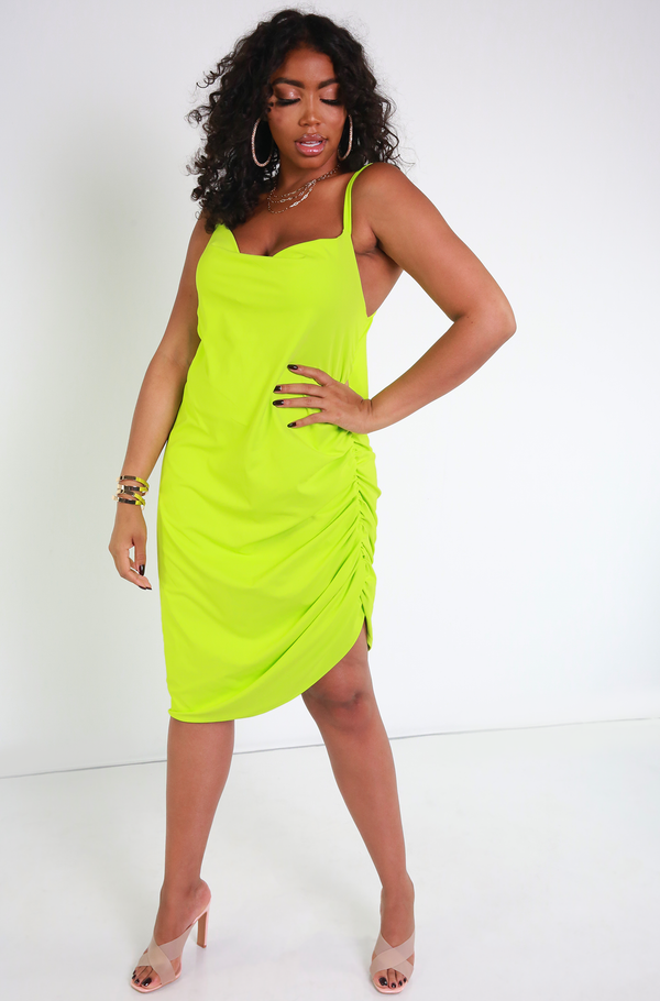 Neon Green Ruched Slip Midi Dress Plus Sizes