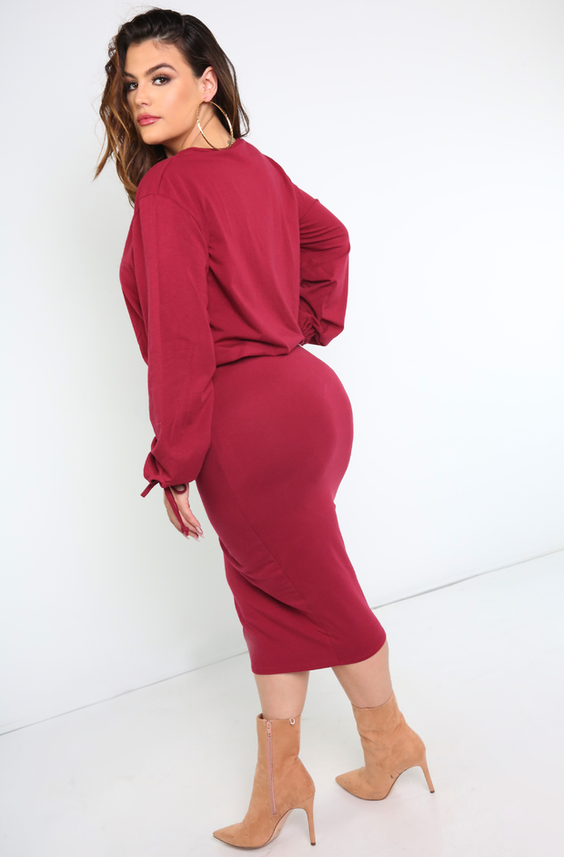 Burgundy Crew Neck Tied Long Sleeve Top Plus Sizes