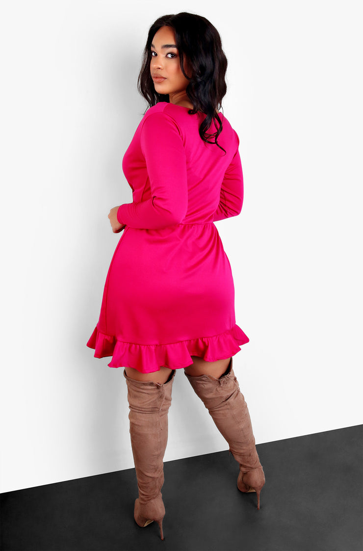 Fuchsia A-Line Long Sleeve Ruffled Mini Dress Plus Sizes