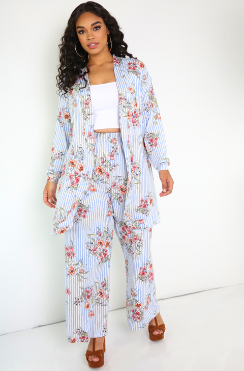 Blue Long Sleeve Floral Cardigan Plus Sizes