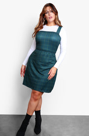 Green Square Neck A-Line Mini Dress