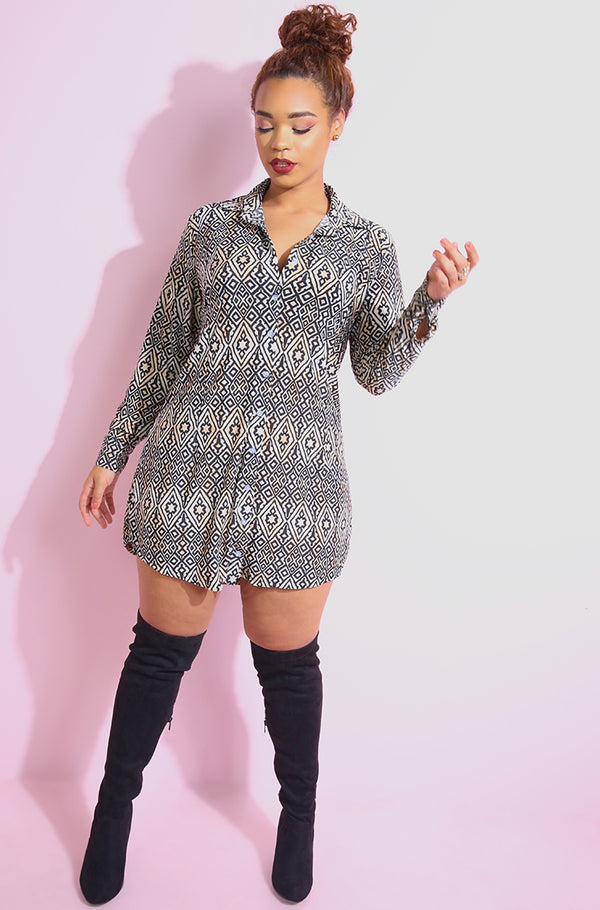 Black Button Down Shift Mini Dress plus sizes