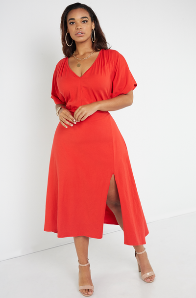 Red A-Line Kimono Sleeves Midi Dress Plus Sizes