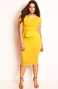 Mustard Front Tied Top Bodycon Midi Skirt Set plus sizes