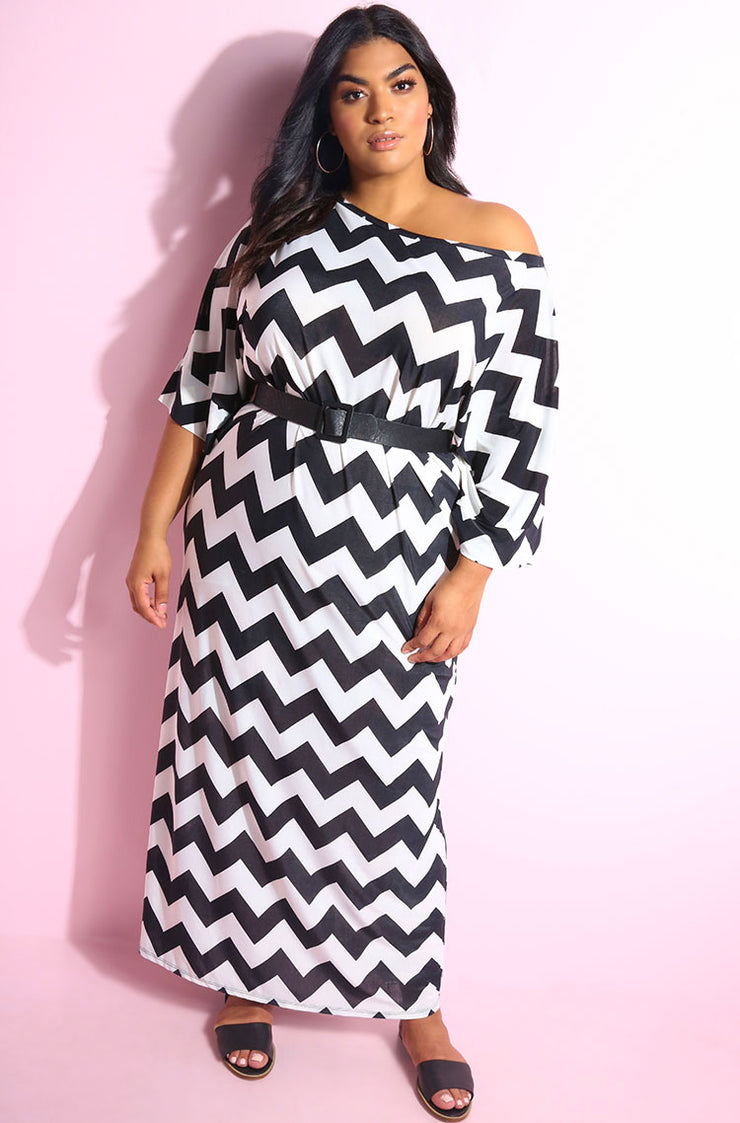Black Chevron Caftan Shift Maxi Dress plus sizes