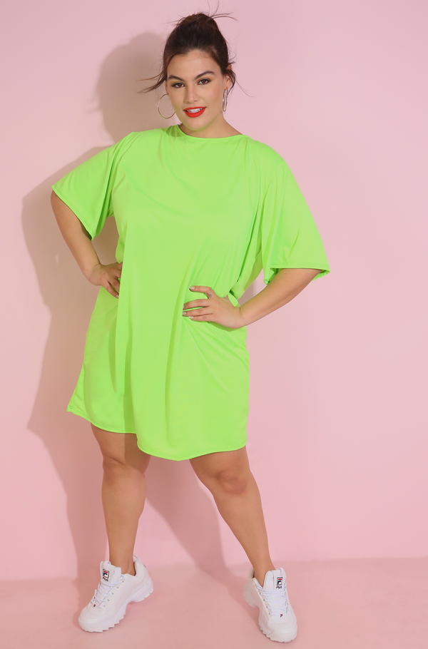 Neon Oversized T-Shirt Dress Plus Sizes