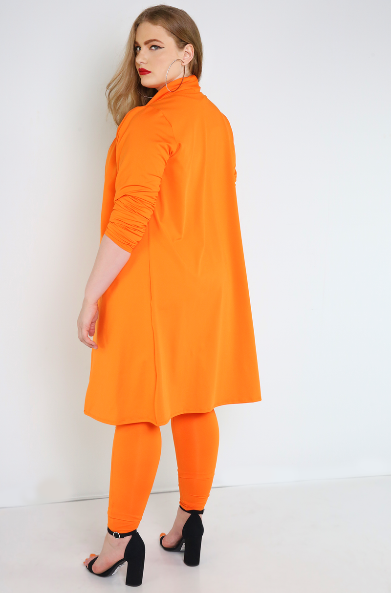 Orange Long Sleeve Duster Plus Sizes