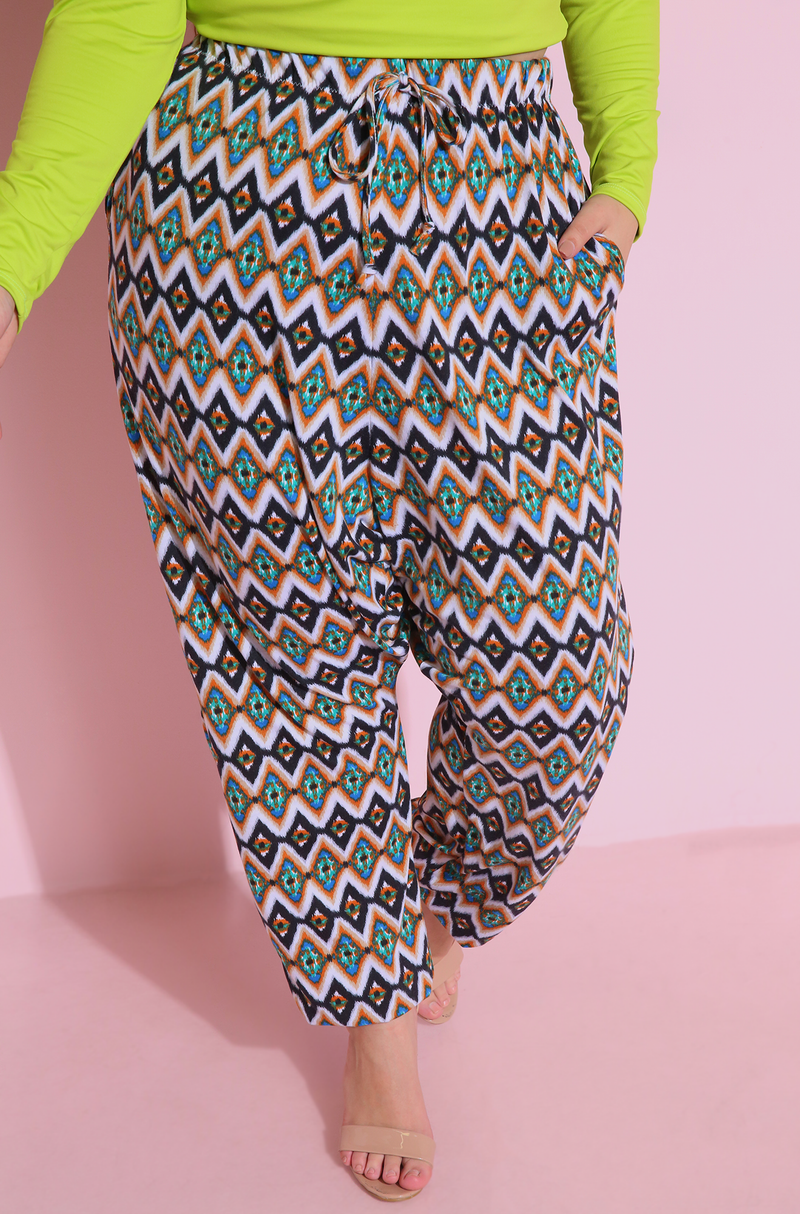 Printed Harem Pants Plus Sizes